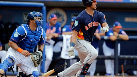 <p>               Houston Astros' Michael Brantley, right, hits an RBI single as New York Mets catcher Wilson Ramos watches during the fifth inning of an exhibition spring training baseball game Saturday, March 2, 2019, in Port St. Lucie, Fla. (AP Photo/Jeff Roberson)             </p>