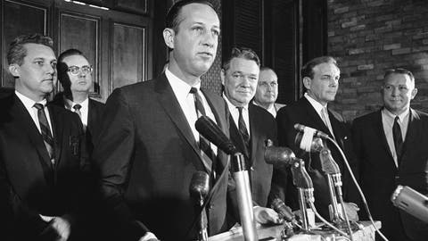 <p>               FILE - In this Nov. 1, 1966, file photo, NFL Commissioner Pete Rozelle, left, announces that New Orleans has been awarded the league's 16th franchise during a news conference in New Orleans. Under Rozelle, there were two strikes and three other work stoppages, though only the strikes affected the regular season. And, to be fair, Rozelle was not involved in negotiations with the union, then led by Ed Garvey; the NFL's management council had full authority. (AP Photo, File)             </p>