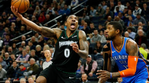 <p>               Minnesota Timberwolves' Jeff Teague, left, shoots as Oklahoma City Thunder's Paul George watches during the first half of an NBA basketball game Tuesday, March 5, 2019, in Minneapolis. (AP Photo/Jim Mone)             </p>