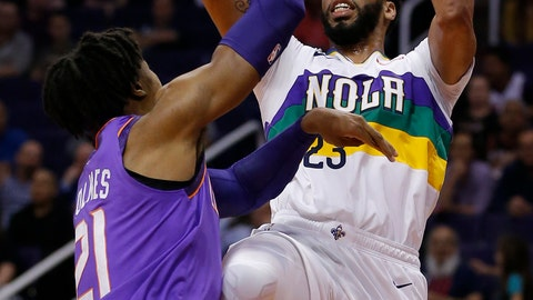 <p>               New Orleans Pelicans forward Anthony Davis (23) shoots over Phoenix Suns forward Richaun Holmes in the first half during an NBA basketball game, Friday, March 1, 2019, in Phoenix. (AP Photo/Rick Scuteri)             </p>