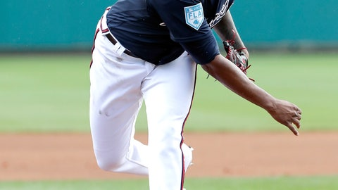 <p>               Atlanta Braves' Julio Teheran pitches in the first inning a spring baseball exhibition game against the Houston Astros, Monday, March 4, 2019, in Kissimmee, Fla. (AP Photo/John Raoux)             </p>