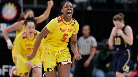 <p>               Maryland guard Kaila Charles (5) celebrates after Maryland defeated Michigan in an NCAA college basketball semifinal game at the Big Ten Conference tournament in Indianapolis, Saturday, March 9, 2019. Maryland defeated Michigan 73-72. (AP Photo/Michael Conroy)             </p>