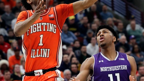 <p>               Illinois guard Trent Frazier, left, drives to the basket as Northwestern guard Anthony Gaines looks on during the second half of an NCAA college basketball game in the first round of the Big Ten Conference tournament in Chicago, Wednesday, March 13, 2019. Illinois won 74-69 in overtime. (AP Photo/Nam Y. Huh)             </p>