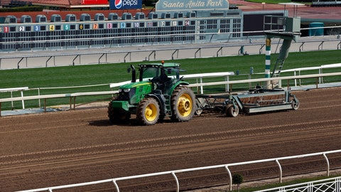 <p>               A tractor grooms the dirt track at Santa Anita Park in Arcadia, Calif., Thursday, March 7, 2019. Extensive testing of the dirt track is under way at eerily quiet Santa Anita, where the deaths of 21 thoroughbreds in two months has forced the indefinite cancellation of horse racing and thrown the workaday world of trainers, jockeys and horses into disarray. (AP Photo/Damian Dovarganes)             </p>