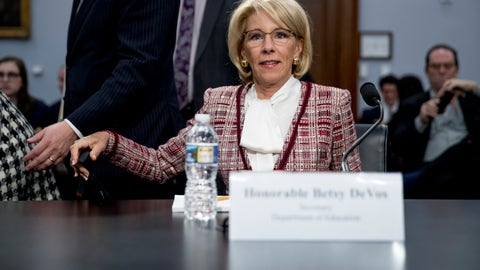 <p>               Education Secretary Betsy DeVos arrives for a House Appropriations subcommittee hearing on budget on Capitol Hill in Washington, Tuesday, March 26, 2019. (AP Photo/Andrew Harnik)             </p>