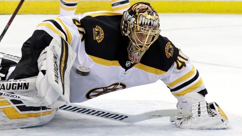 <p>               Boston Bruins goaltender Tuukka Rask, of Finland, watches the puck during the second period of the team's NHL hockey game against the New Hersey Devils on Thursday, March 21, 2019, in Newark, N.J. (AP Photo/Julio Cortez)             </p>