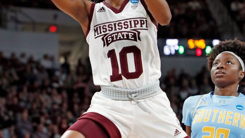 <p>               Mississippi State guard Jazzmun Holmes (10) drives past Southern guard Li'Neshon Legard (20) to make a layup during the second half of a first-round game in the NCAA women's college basketball tournament in Starkville, Miss., Friday, March 22, 2019. Mississippi State won 103-46. (AP Photo/Rogelio V. Solis)             </p>