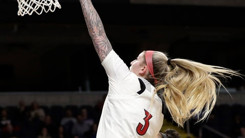 <p>               Louisville forward Sam Fuehring tips the ball up toward the rim with Oregon State forward Taya Corosdale defending during the second half of a regional semifinal in the NCAA women's college basketball tournament Friday, March 29, 2019, in Albany, N.Y. Louisville won 61-44. (AP Photo/Kathy Willens)             </p>