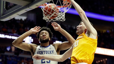 <p>               Tennessee forward John Fulkerson (10) dunks against Kentucky forward EJ Montgomery (23) in the first half of an NCAA college basketball game at the Southeastern Conference tournament Saturday, March 16, 2019, in Nashville, Tenn. (AP Photo/Mark Humphrey)             </p>