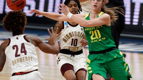 <p>               Oregon guard Sabrina Ionescu, right, passes the ball as Mississippi State guards Jordan Danberry, left, and Jazzmun Holmes, center, defend during the first half of a regional final in the NCAA women's college basketball tournament Sunday, March 31, 2019, in Portland, Ore. (AP Photo/Steve Dipaola)             </p>