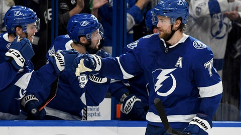 <p>               Tampa Bay Lightning defenseman Victor Hedman (77) celebrates after his goal during the third period of an NHL hockey game against the Arizona Coyotes, Monday, March 18, 2019, in Tampa, Fla. (AP Photo/Jason Behnken)             </p>