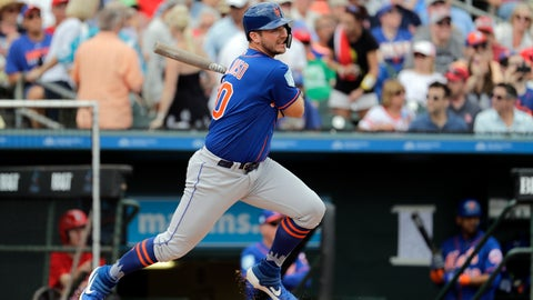 <p>               FILE - In this Feb. 28, 2019, file photo, New York Mets' Pete Alonso hits a single during the first inning of an exhibition spring training baseball game against the St. Louis Cardinals in Jupiter, Fla. Alonso is hitting .406 at spring training and leads the Mets with three home runs, yet he may start the season in the minor leagues. (AP Photo/Jeff Roberson, File)             </p>