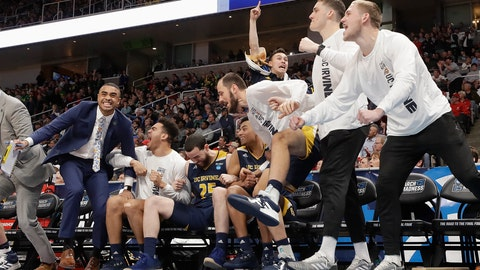 <p>               UC Irvine players and coaches celebrate during the second half of a first round men's college basketball game against Kansas State in the NCAA Tournament, Friday, March 22, 2019, in San Jose, Calif. (AP Photo/Chris Carlson)             </p>