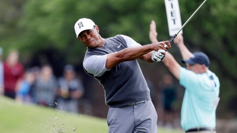 <p>               Tiger Woods hits on the second hole during round-robin play at the Dell Technologies Match Play Championship golf tournament, Friday, March 29, 2019, in Austin, Texas. (AP Photo/Eric Gay)             </p>