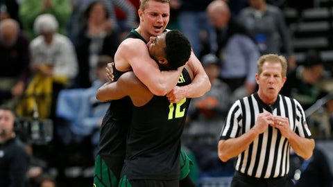 <p>               Baylor guard Makai Mason, left, and guard Jared Butler (12) celebrate the team's win against Syracuse in a first-round game in the NCAA men's college basketball tournament Thursday, March 21, 2019, in Salt Lake City. (AP Photo/Jeff Swinger)             </p>