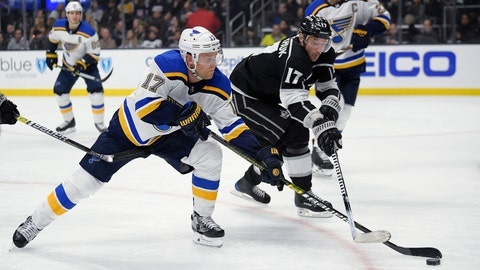 <p>               St. Louis Blues left wing Jaden Schwartz, left, and Los Angeles Kings left wing Ilya Kovalchuk reach for the puck during the second period of an NHL hockey game Thursday, March 7, 2019, in Los Angeles. (AP Photo/Mark J. Terrill)             </p>