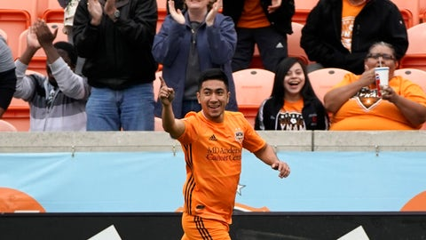 <p>               Houston Dynamo's Memo Rodriguez celebrates after scoring a goal against the Vancouver Whitecaps during the first half of an MLS soccer match Saturday, March 16, 2019, in Houston. (AP Photo/David J. Phillip)             </p>