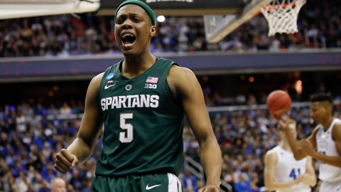 <p>               Michigan State guard Cassius Winston (5) reacts to scoring on Duke during the first half of an NCAA men's East Regional final college basketball game in Washington, Sunday, March 31, 2019. (AP Photo/Alex Brandon)             </p>