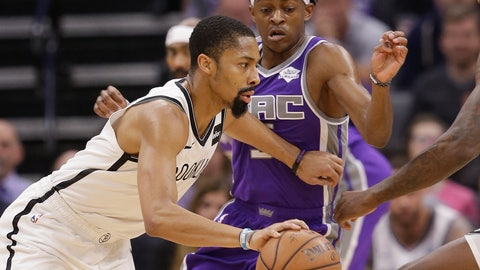 <p>               Brooklyn Nets guard Spencer Dinwiddie, left, drives against Sacramento Kings guard De'Aaron Fox, right, during the first quarter of an NBA basketball game Tuesday, March 19, 2019, in Sacramento, Calif. (AP Photo/Rich Pedroncelli)             </p>
