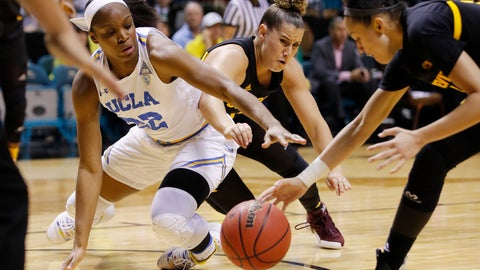 <p>               From left, UCLA's Kennedy Burke, Arizona State's Taya Hanson and Reili Richardson scramble for the ball during the second half of an NCAA college basketball game at the Pac-12 women's tournament Friday, March 8, 2019, in Las Vegas. (AP Photo/John Locher)             </p>
