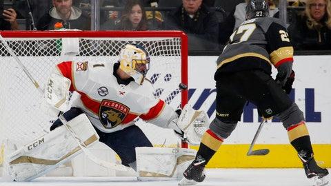<p>               Vegas Golden Knights defenseman Shea Theodore (27) scores on Florida Panthers goaltender Roberto Luongo (1) during the shootout in an NHL hockey game Thursday, Feb. 28, 2019, in Las Vegas. (AP Photo/John Locher)             </p>