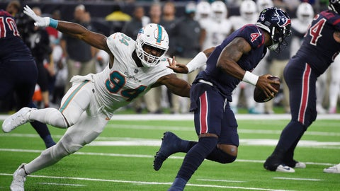 <p>               FILE - In this Oct. 25, 2018, file photo, Houston Texans quarterback Deshaun Watson (4) is pressured by Miami Dolphins defensive end Robert Quinn (94) during the second half of an NFL football game in Houston. The Dallas Cowboys have agreed to acquire defensive end Robert Quinn from the Dolphins for a sixth-round draft pick on Thursday, March 28, 2019, in a trade that would bolster the Dallas pass rush while the club works on a long-term contract for DeMarcus Lawrence. (AP Photo/Eric Christian Smith, File)             </p>
