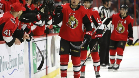 <p>               Ottawa Senators defenceman Cody Ceci (5) celebrates his goal against the Toronto Maple Leafs during the first period of an NHL hockey game in Ottawa, Saturday, March 16, 2019. (Fred Chartrand/The Canadian Press via AP)             </p>