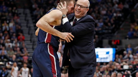<p>               Fairleigh Dickinson forward Nadi Beciri, left, is embraced by coach Greg Herenda after a second-half shot against Gonzaga in a first-round game in the NCAA men's college basketball tournament Thursday, March 21, 2019, in Salt Lake City. (AP Photo/Jeff Swinger)             </p>