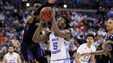 <p>               North Carolina's Nassir Little (5) shoots against Washington's Matisse Thybulle, left, during the second half during a second-round men's college basketball game in the NCAA Tournament, Sunday, March 24, 2019, in Columbus, Ohio. (AP Photo/John Minchillo)             </p>
