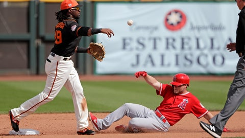 <p>               San Francisco Giants shortstop Alen Hanson, left, throws to first base after forcing out Los Angeles Angels' Brennon Lund at second base in the fifth inning of a spring training baseball game Friday, March 15, 2019, in Phoenix. The Angels' Jose Rojas was out at first on the double play. (AP Photo/Elaine Thompson)             </p>
