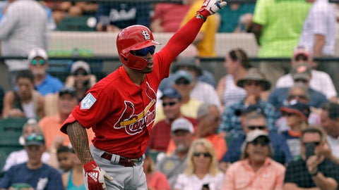 <p>               St. Louis Cardinals' Kolten Wong celebrates his home run off Detroit Tigers starting pitcher Michael Fulmer during the first inning of a spring training baseball game Monday, March 4, 2019, in St. Petersburg, Fla. (AP Photo/Chris O'Meara)             </p>
