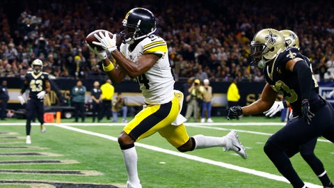 <p>               FILE - In this Dec. 23, 2018, file photo, Pittsburgh Steelers wide receiver Antonio Brown (84) pulls in a pass reception in front of New Orleans Saints cornerback Marshon Lattimore, foreground right, and strong safety Kurt Coleman in the second half of an NFL football game in New Orleans. A person with direct knowledge of the situation told The Associated Press on Saturday, March 9, 2019, that the Oakland Raiders have an agreement to acquire receiver Brown in a trade with the Steelers and will give him a new contract. (AP Photo/Butch Dill, File)             </p>