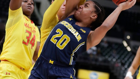 <p>               Michigan guard Deja Church (20) looks to shoot over Maryland forward Brianna Fraser (34) and guard Sara Vujacic (32) in the first half of an NCAA college basketball semifinal game at the Big Ten Conference tournament in Indianapolis, Saturday, March 9, 2019. (AP Photo/Michael Conroy)             </p>