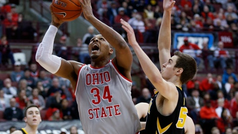 <p>               Ohio State forward Kaleb Wesson, left, goes up for a shot next to Iowa forward Nicholas Baer during the second half of an NCAA college basketball game in Columbus, Ohio, Tuesday, Feb. 26, 2019. Ohio State won 90-70. (AP Photo/Paul Vernon)             </p>