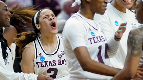 <p>               Texas A&M's Chennedy Carter (3) celebrates with teammates after a second round women's college basketball game against Marquette in the NCAA Tournament Sunday, March 24, 2019, in College Station, Texas. Texas A&M won 78-76. (AP Photo/David J. Phillip)             </p>
