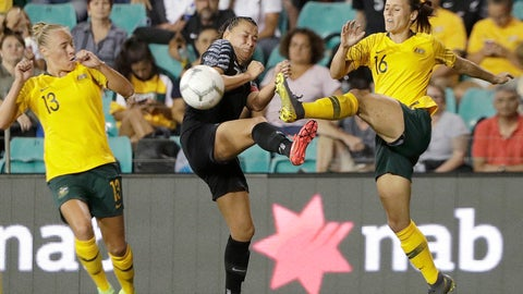 <p>               Australia's Hayley Raso, right, clears the ball past New Zealand's Ali Riley, center, during their Cup of Nations soccer game in Sydney, Thursday, Feb. 28, 2019. (AP Photo/Rick Rycroft)             </p>