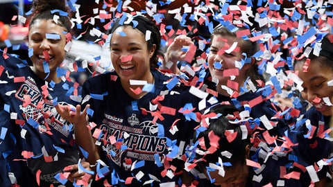 <p>               From left to right, Connecticut's Olivia Nelson-Ododa, Napheesa Collier, Crystal Dangerfield, Kyla Irwin and Megan Walker celebrate their win in an NCAA college basketball game against Central Florida in the American Athletic Conference women's tournament finals Monday, March 11, 2019, at Mohegan Sun Arena in Uncasville, Conn. (AP Photo/Jessica Hill)             </p>
