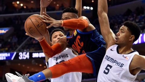<p>               Oklahoma City Thunder guard Russell Westbrook, center, handles the ball between Memphis Grizzlies forwards Ivan Rabb, left, and Bruno Caboclo (5) during the second half of an NBA basketball game Monday, March 25, 2019, in Memphis, Tenn. (AP Photo/Brandon Dill)             </p>