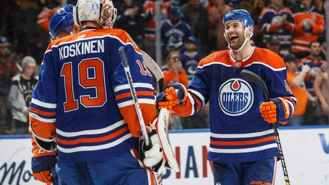 <p>               Edmonton Oilers' Mikko Koskinen (19) and Zack Kassian (44) celebrate the team's win over the Vancouver Canucks during an NHL hockey game Thursday, March 7, 2019, in Edmonton, Alberta. (Jason Franson/The Canadian Press via AP)             </p>