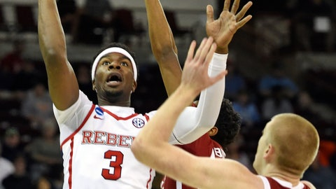 <p>               Mississippi's Terence Davis (3) shoots over Oklahoma's Brady Manek (35) during a first-round game in the NCAA men's college basketball tournament in Columbia, S.C. Friday, March 22, 2019. (AP Photo/Richard Shiro)             </p>