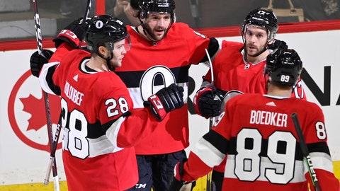 <p>               Ottawa Senators defenseman Christian Wolanin (86) celebrates his goal against the St. Louis Blues during second-period NHL hockey game action in Ottawa, Ontario, Thursday March 14, 2019. (Justin Tang/The Canadian Press via AP)             </p>