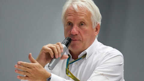<p>               FILE - In this Oct. 10, 2014, file photo, Charlie Whiting, International Automobile Federation, or FIA, Race Director, gestures answering a question during a news conference at the 'Sochi Autodrom' Formula One circuit , in Sochi, Russia. The governing body for international auto racing says its Formula One director Whiting has died from a pulmonary embolism. He was 66. The FIA issued a statement Thursday, March 14, saying Whiting died in Melbourne, where the season-opening Australian Grand Prix will be raced on Sunday.  (AP Photo/Pavel Golovkin, File)             </p>