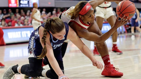 <p>               Maine's Fanny Wadling, left, and North Carolina State's Kiara Leslie chase the ball during the first half of a first round women's college basketball game in the NCAA Tournament in Raleigh, N.C., Saturday, March 23, 2019. (AP Photo/Gerry Broome)             </p>
