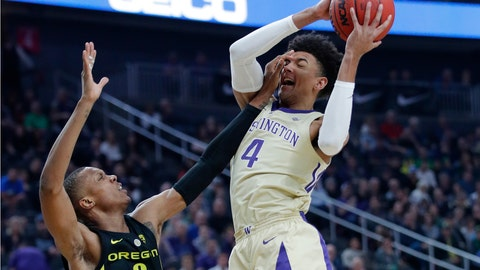 <p>               Washington's Matisse Thybulle attempts a shot over Oregon's Louis King during the first half of an NCAA college basketball game in the final of the Pac-12 men's tournament Saturday, March 16, 2019, in Las Vegas. (AP Photo/John Locher)             </p>