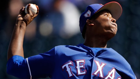 <p>               Texas Rangers pitcher Jose Leclerc throws during the fifth inning of a spring training baseball game against the Chicago Cubs Wednesday, Feb. 27, 2019, in Surprise, Ariz. (AP Photo/Charlie Riedel)             </p>