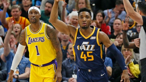 <p>               Utah Jazz guard Donovan Mitchell (45) celebrates after scoring 3-pointer against Los Angeles Lakers guard Kentavious Caldwell-Pope (1) during the first half of an NBA basketball game Wednesday, March 27, 2019, in Salt Lake City. (AP Photo/Rick Bowmer)             </p>