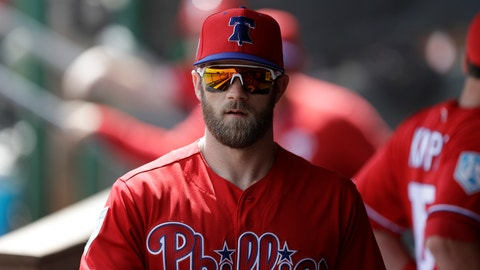 <p>               FILE - In this March 11, 2019 file photo Philadelphia Phillies right fielder Bryce Harper walks in the dugout before a spring training baseball game against the Tampa Bay Rays in Clearwater, Fla. Harper came to Philadelphia to do the one thing he didn't accomplish in Washington: Win in October. The Phillies gave him the biggest contract in baseball history to deliver. The 26-year-old slugger was a six-time All-Star, 2012 NL Rookie of the Year and 2015 NL Most Valuable Player during seven seasons with the Nationals. But he couldn't help Washington win a postseason series in four tries. (AP Photo/Chris O'Meara, file)             </p>