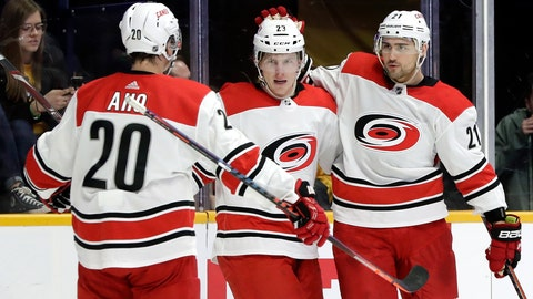 <p>               Carolina Hurricanes right wing Nino Niederreiter (21), of Switzerland, celebrates with Brock McGinn (23) and Sebastian Aho (20), of Finland, after Niederreiter scored a goal against the Nashville Predators in the first period of an NHL hockey game Saturday, March 9, 2019, in Nashville, Tenn. (AP Photo/Mark Humphrey)             </p>