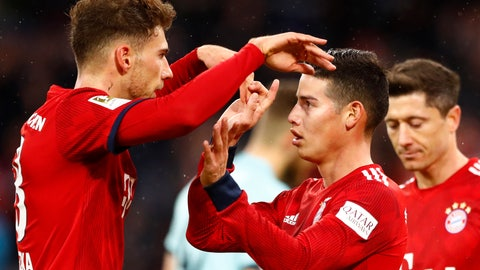 <p>               Bayern's James, right, celebrates with teammate Leon Goretzka after scoring during the German Bundesliga soccer match between FC Bayern Munich and 1. FSV Mainz 05 in Munich, Germany, Sunday, March 17, 2019. (AP Photo/Matthias Schrader)             </p>