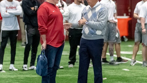 <p>               New England Patriots head coach Bill Belichick, left, talks with Alabama football coach Nick Saban at Alabama's NFL Pro Day, Tuesday, March 19, 2019, in Tuscaloosa, Ala. (AP Photo/Vasha Hunt)             </p>